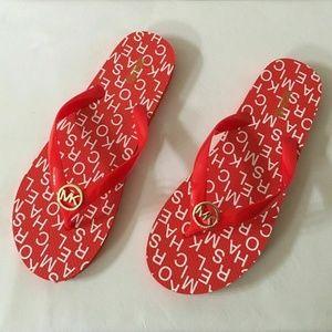 Michael Kors Red Flip Flops Jet Set Logo Size 11